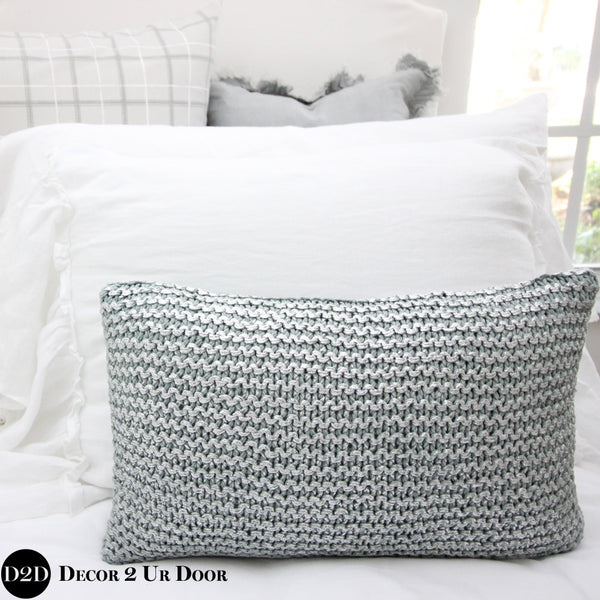 Blue Metallic Knitted Design Lumbar Pillow Cover