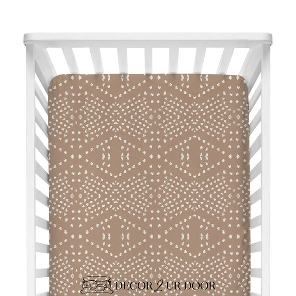 Blush Boho Tile Fitted Crib Sheet