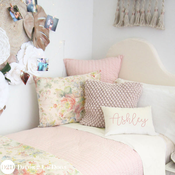 Blush Pink Quilted Euro Pillow Cover