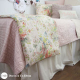 Blush Floral Rose Custom Dorm Bedding Set