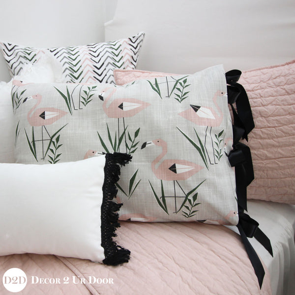 Blush Pink & Grey Flamingo Pillow Pile