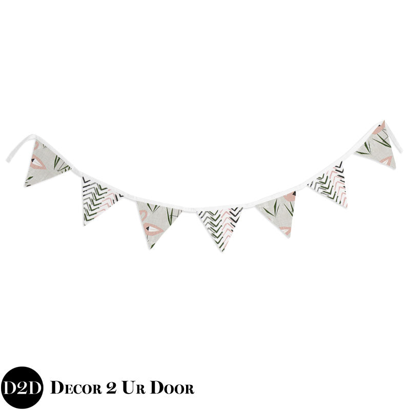 Blush and Grey Flamingo Wall Fabric Pennant Banner