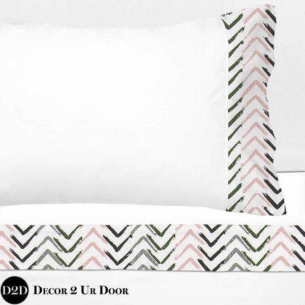 Blush Pink & Grey Arrows 100% Cotton Banded Sheet Set