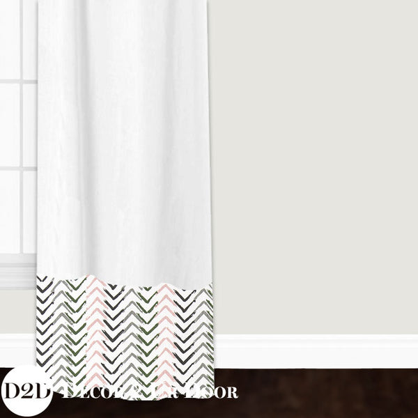 White, Blush & Grey Custom Window Curtain/Closet Panel
