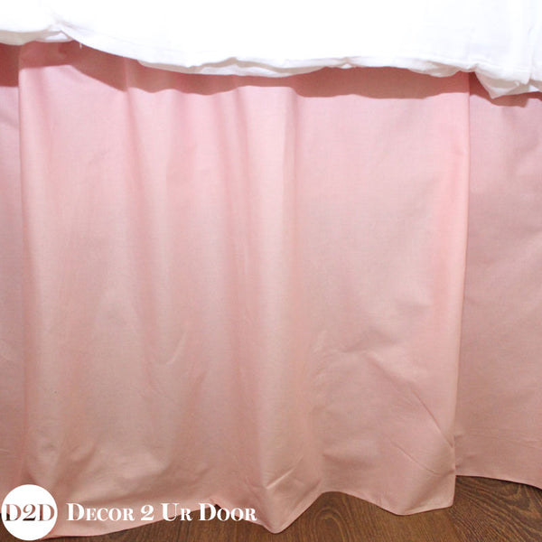 Solid Blush Pink Extra Long Dorm Bed Skirt