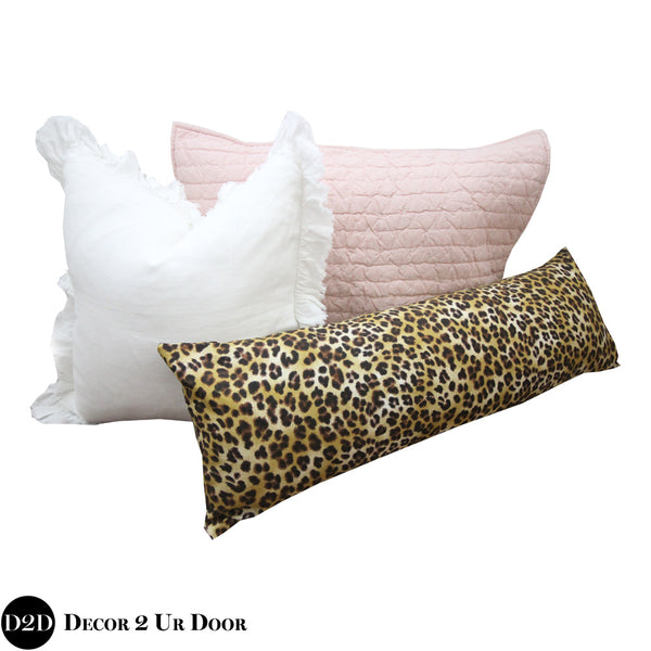 Blush Pink & Cheetah Print Pillow Pile