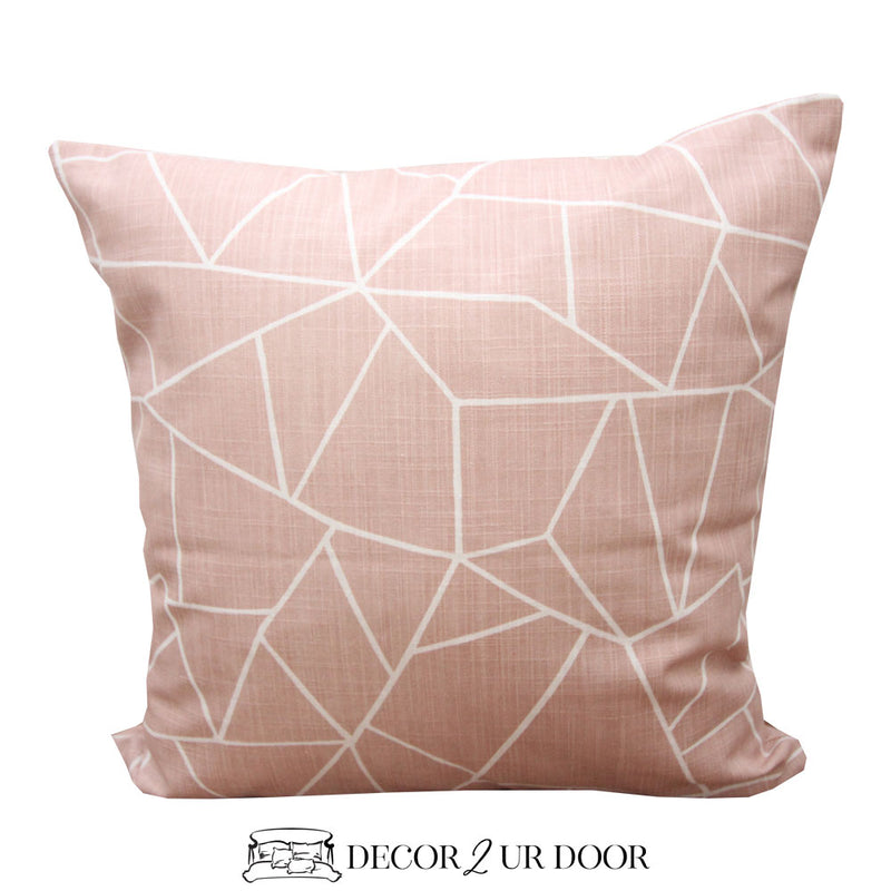 Blush Pink Geometric Square Pillow Cover