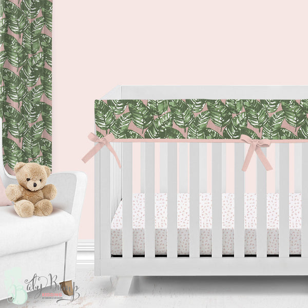 Blush & Green Leaf Baby Crib Rail Cover
