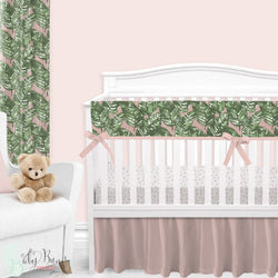 Blush & Green Palm Leaf Baby Girl Crib Bedding Set