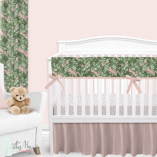 Blush & Green Leaf Baby Crib Skirt