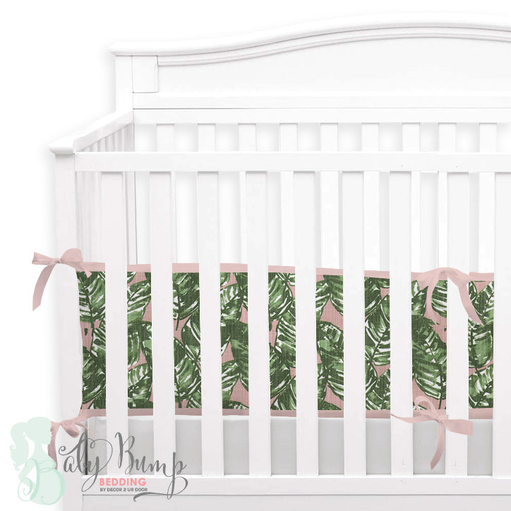 Blush & Green Leaf 2-in-1 Crib Bumper/Rail Cover