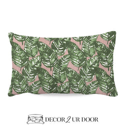 Blush & Green Leaf Lumbar Nursery Throw Pillow Cover