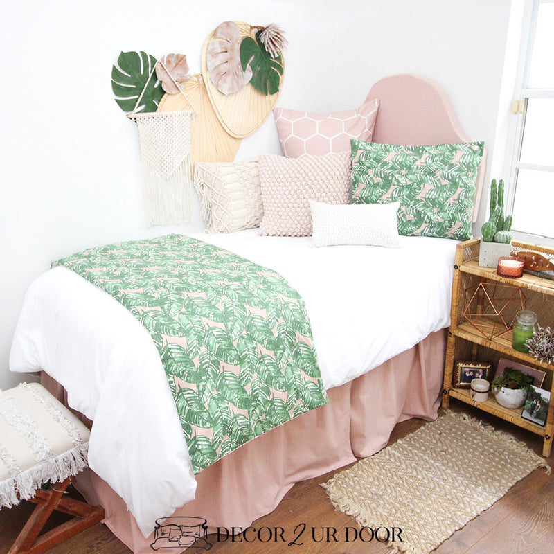 Blush Pink and Green Leaf Dorm Bedding Set