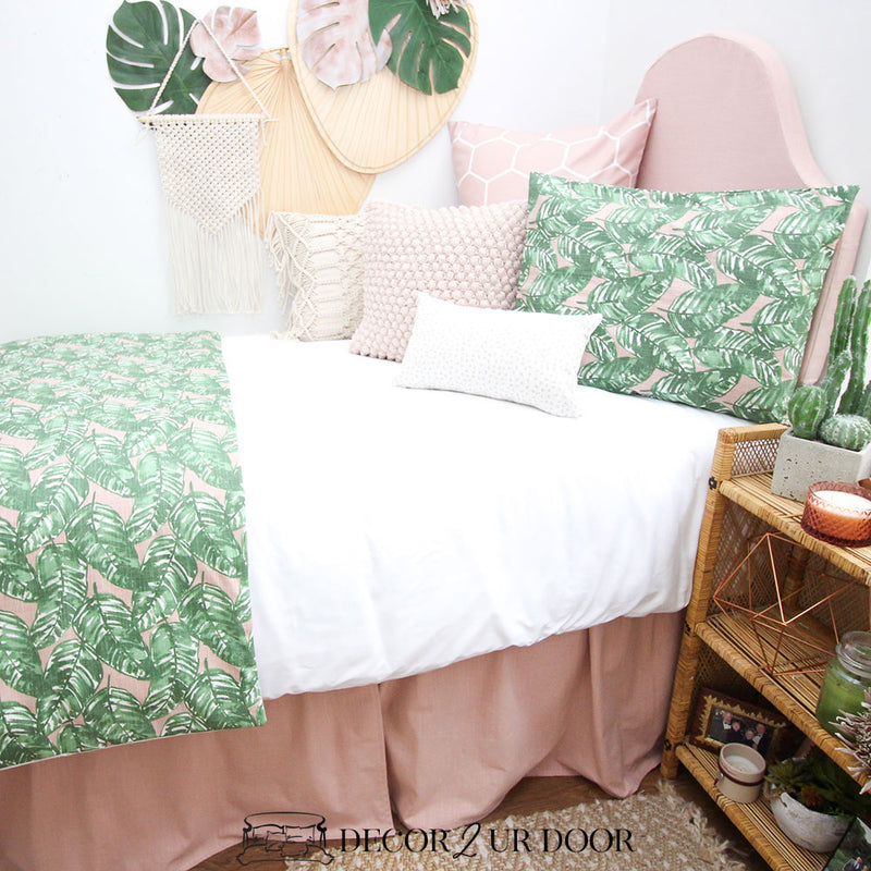 Blush Pink and Green Leaf Designer Bedding Collection