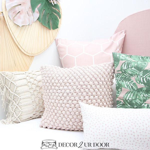 Blush Pink Geometric Euro Pillow Cover