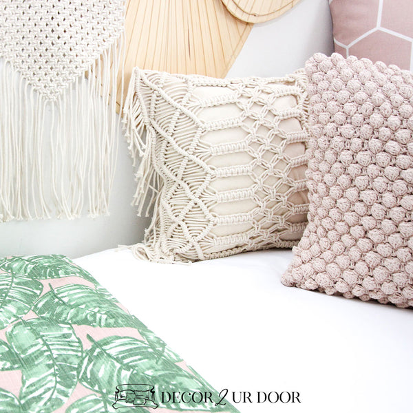 Macrame Fringe Square Pillow Cover