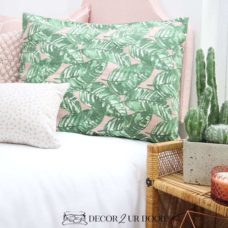 Blush Pink and Green Leaf Designer Sham