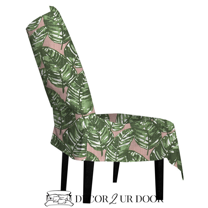 Blush Pink and Green Leaf Dorm Chair Cover with Storage Pocket