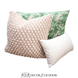 Blush Pink and Green Leaf Pillow Pile