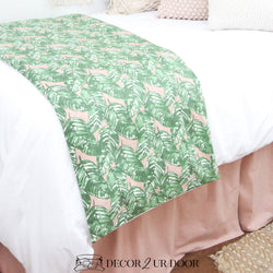 Blush Pink and Green Leaf Bed Scarf