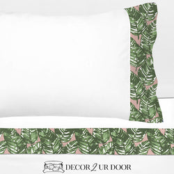 Blush Pink and Green Leaf 100% Cotton Banded Sheet Set