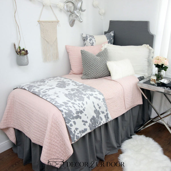 Blush Grey Cowhide Dorm Bedding Set