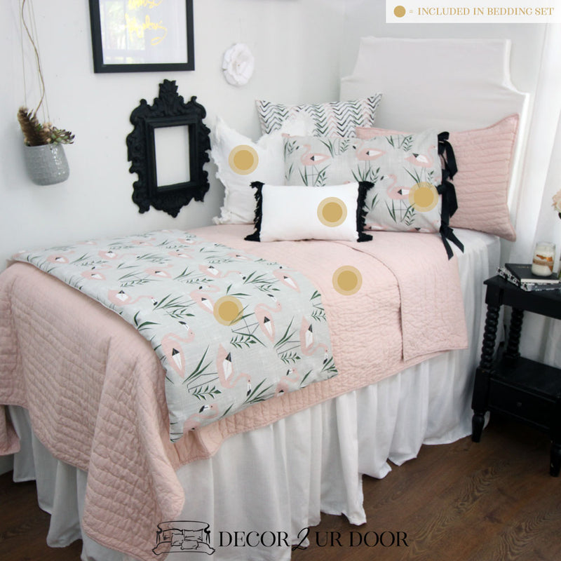 Blush & Grey Flamingo Dorm Bedding Set