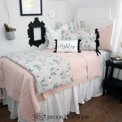 Blush Pink & Grey Flamingo Dorm Bedding Set