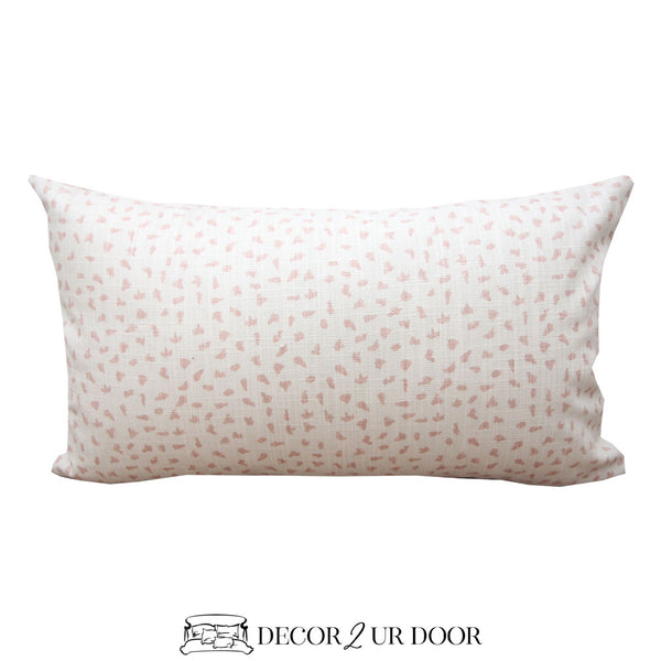 Blush Pink Dot Lumbar Pillow Cover