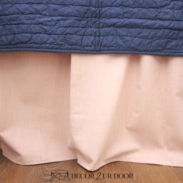 Blush Pink Linen Extra Long Dorm Bed Skirt