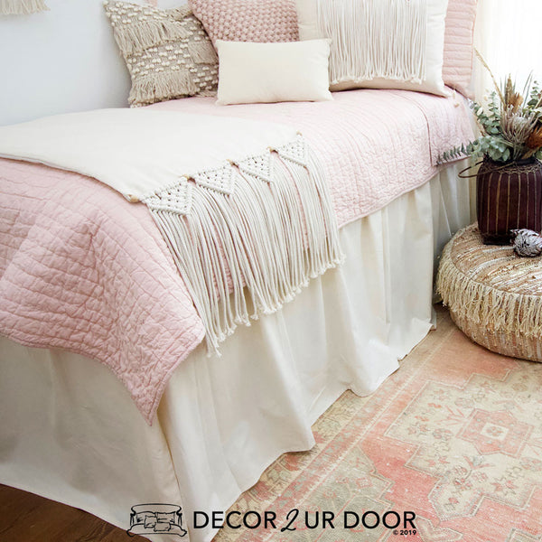 Blush and Natural Macrame Designer Bedding Collection