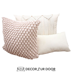 Blush and Natural Macrame Pillow Pile