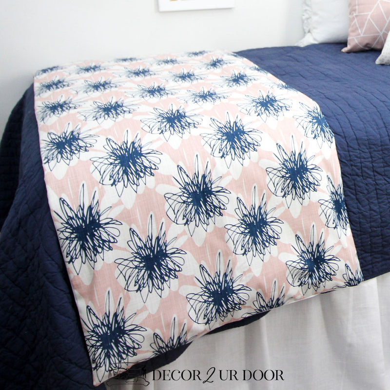 Blush Pink & Navy Floral Bed Scarf