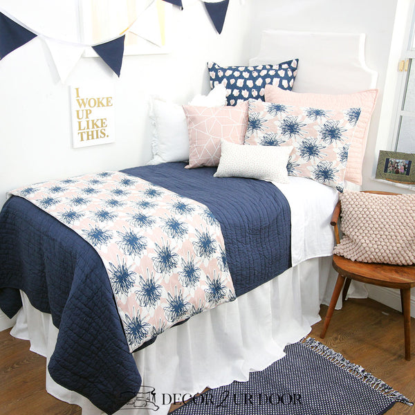 Blush Pink & Navy Floral Dorm Bedding Set