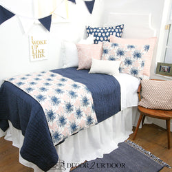 Blush Pink & Navy Floral Designer Bedding Collection