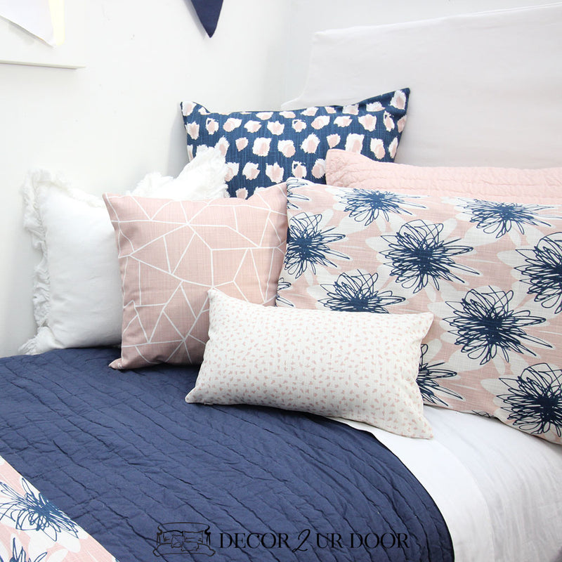 Navy & Blush Floral Dorm Bedding Set