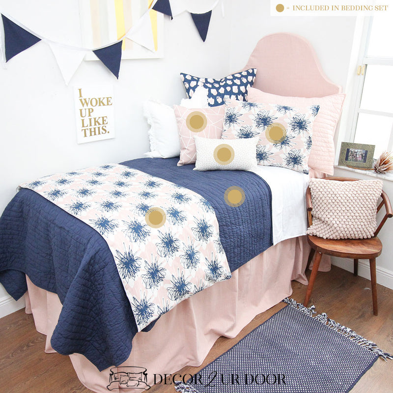 Blush Linen Navy Floral Dorm Bedding Set