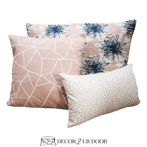 Blush Pink & Navy Floral Pillow Pile