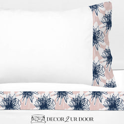 Blush Pink & Navy Floral 100% Cotton Banded Sheet Set