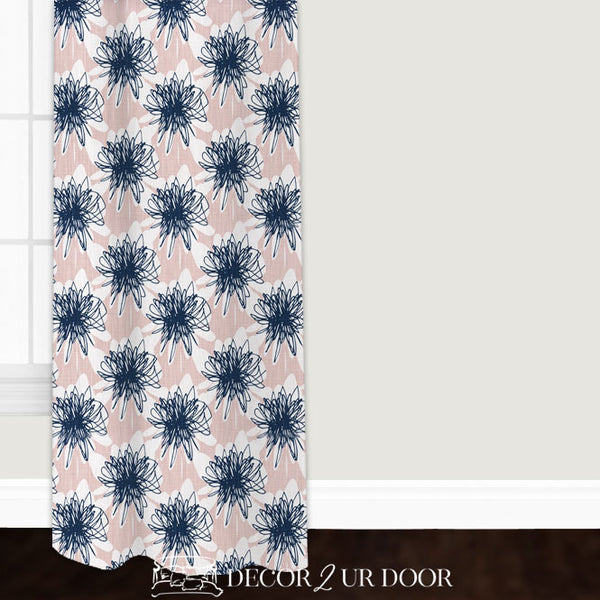 Blush Pink & Navy Floral Custom Window Curtain/Closet Panel