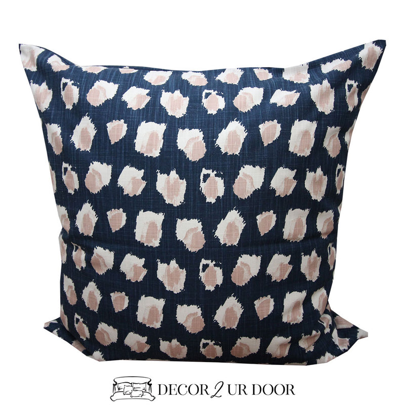 Navy & Blush Pink Dot Euro Pillow Cover