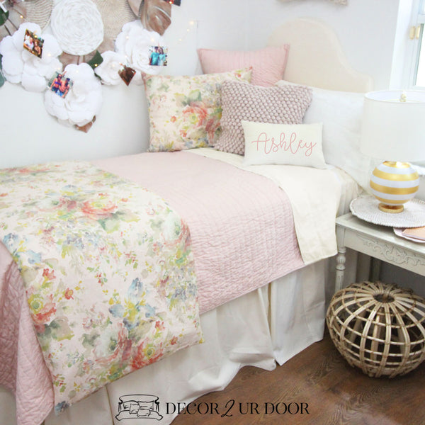 Blush Floral Rose Dorm Bedding Set