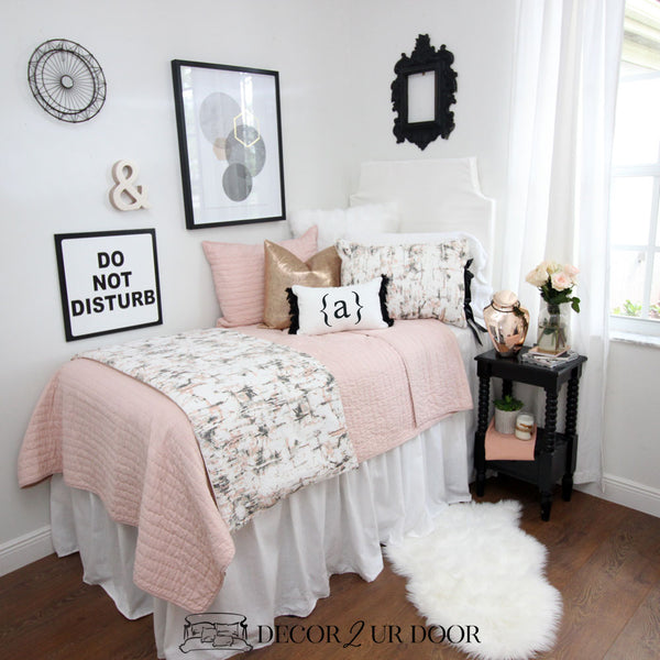 Black, Blush & Rose Gold Carrara Marble Dorm Bedding Set