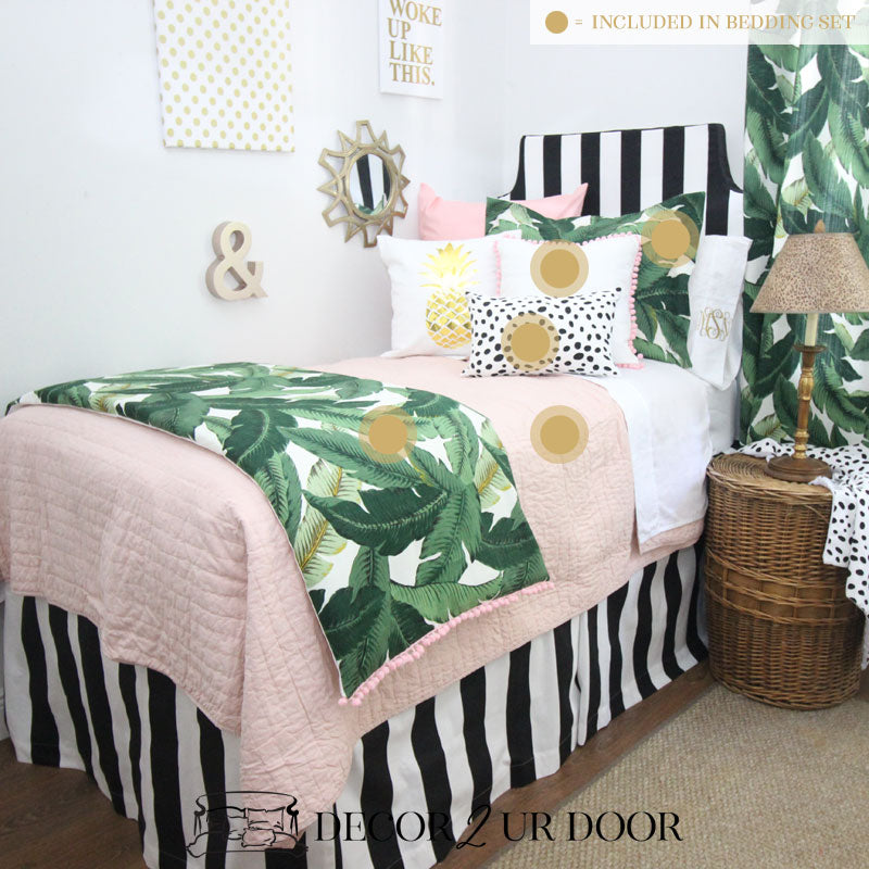 Blush Tropical Palm Dorm Bedding Set