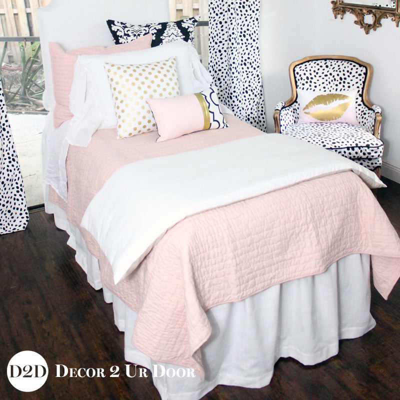 Solid Blush Pink Quilted Sham