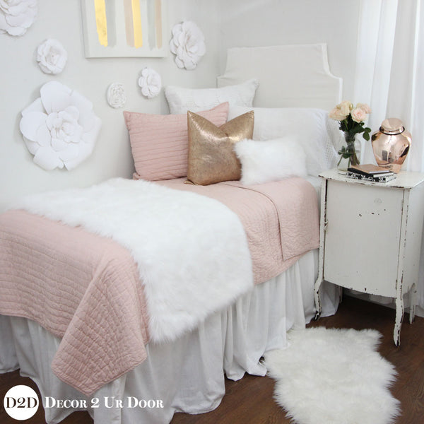 Blush Pink, Fur & Rose Gold Designer Bedding Collection
