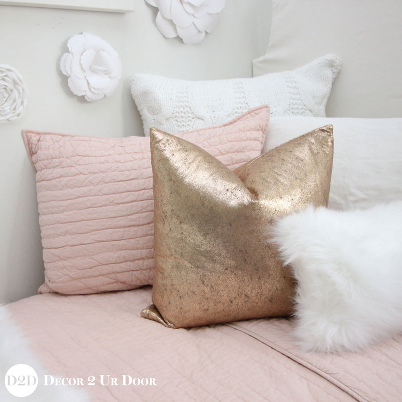 Blush Rose Gold & Fur Dorm Bedding Set