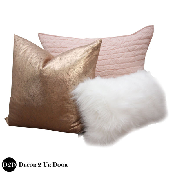 Blush Pink, Rose Gold & Faux Fur Pillow Pile