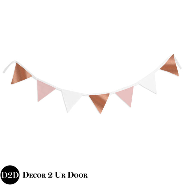 Blush and Rose Gold Wall Fabric Pennant Banner