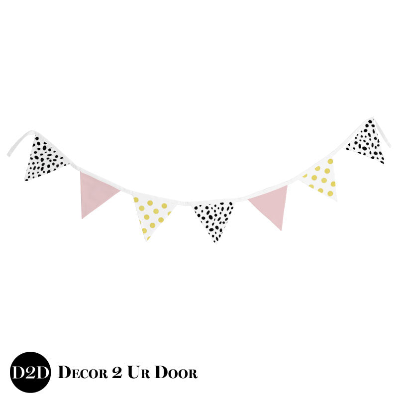 Blush Pink, White, Black, and Gold Wall Fabric Pennant Banner